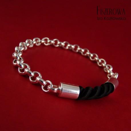 Srebro i sznur - pozytyw bransoleta