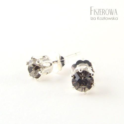 Swarovski dot - silver & greige
