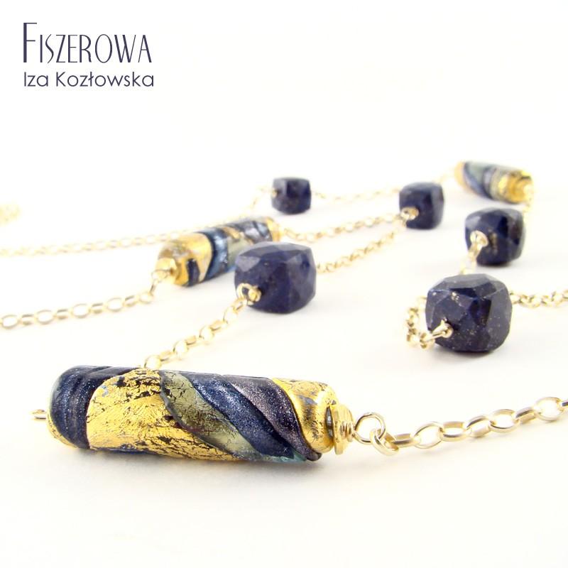Złota nitka z murano i lapis lazuli
