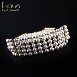 Choker - biała perła 5S