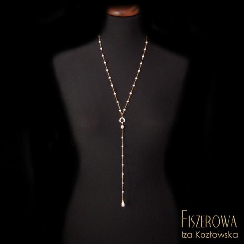 Złota nitka - perły i cyrkonie